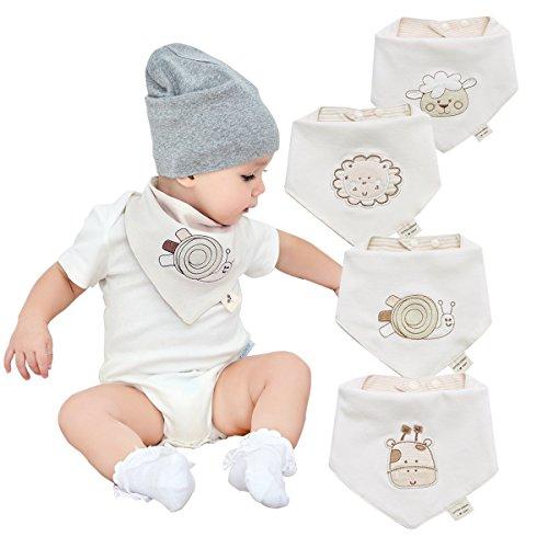 Bandanas bebe baberos para niños y niñas de 4 pack-100% algodón, suave...