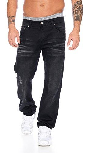 Rock creek designer jeans hose denim schwarz herrenjeans stonewashed LL-304 Schwarz