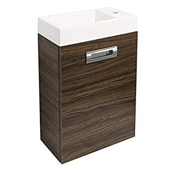 Cloakroom Toilet and Vanity Unit Compact Suite (Walnut Effect)