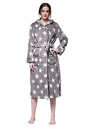 Aibrou Bademantel Damen Winter Morgenmantel super weiches flauschiges coral fleece warmer Schlafanzug Nachtwäsche aus Flanell Saunamantel Frottee Kleidung