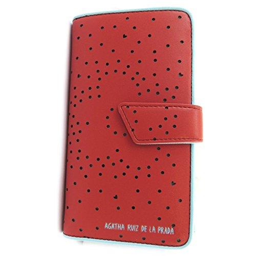 Agatha Ruiz de la Prada [N4881] - Portefeuille 'Agatha Ruiz de la Prada' rouge - coeurs perforés (L)