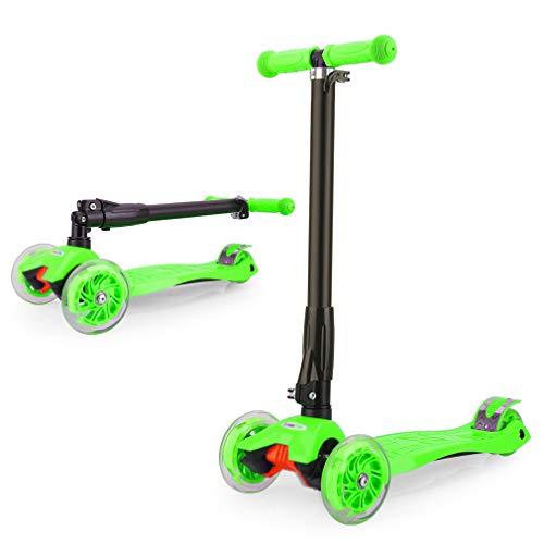 GOSFUN EU Patinete Niña Patinete de 3 Ruedas con Diseño Scooter para Niños de 2 a 12 Años de Edad + Rodillera (Verde)
