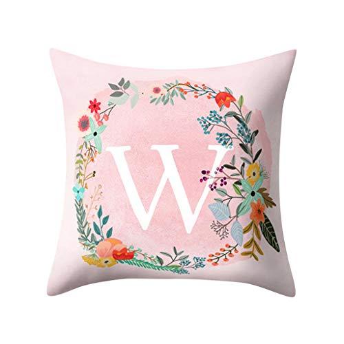 WUDUBE Mädchenherzdruck literarische Krone rosa englisches Alphabetmuster Kissenbezug Pfirsichleder, dekoratives Sofa, 45 cm x 45 cm
