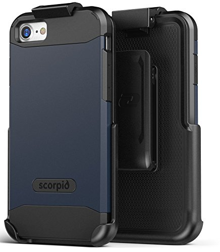 iPhone 7 Belt Clip Case, Premium Tough Protection w/ Holster - Scorpio R5 by Encased (Smooth Black) Navy Blue