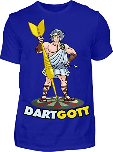 Kreisligahelden T-Shirt Herren Dartgott - Kurzarm Shirt Baumwolle mit Motiv Aufdruck - Hobby Freizeit Fun Dart Darts 180 göttlich (XL, Blau)