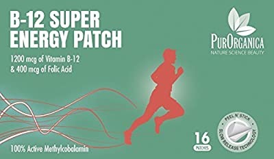 Vitamin B12 Patch #? BEST VALUE 16 Patches - up to 4 Month Supply - High Quality 1200 mcg Methylcobalamin & 400 mcg Folic Acid - Your Satisfaction or RISK FREE 100% Money Back Guarantee by PurOrganica