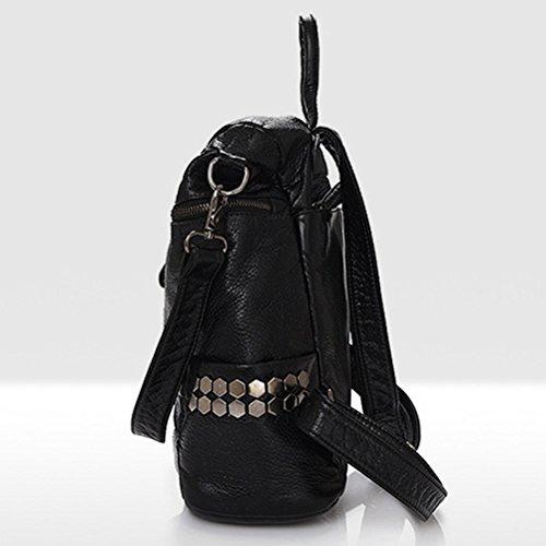 Honeymall Damen Mode aus Weichem Leder Rucksack Schulterbeutel Niet Vintage Satchel Daypack(Schwarz) - 3