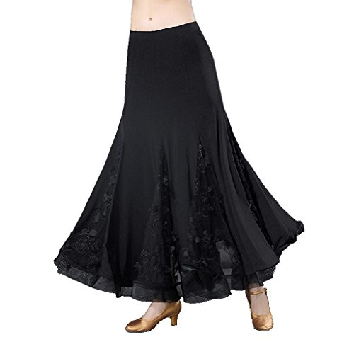 Byjia Nationale Standard-Kommunikation Frauen Moderne Walzer Ballroom Kleid Flounce Röcke Lace Play Rock Wettbewerb Party Rock Lange Swing Leistung Praxis Kleidung . Black . L (National-hosen Costume)