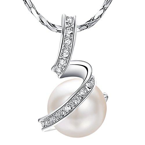 Yoursfs Collier Or blanc plaqué Pendentif en perle de culture et Diamant de synthèse pour Femmes ou Filles comme Accessoire ou Cadeau Anniversaire Mariage