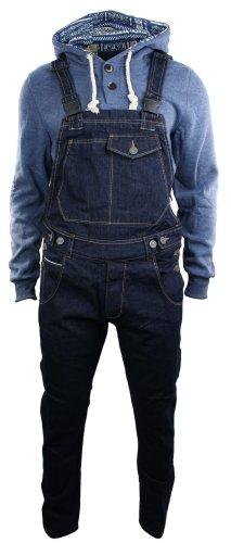 Herren Latzhose Jeans Marineblau Straight Schnitt Retro Vintage Lässig