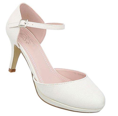Damen Schuhe Pumps High Heels Stiletto High Heels Metallic Party Schuhe Glitzer Abendschuhe Hochzeitsschuhe Pfennigabsatz Creme 36