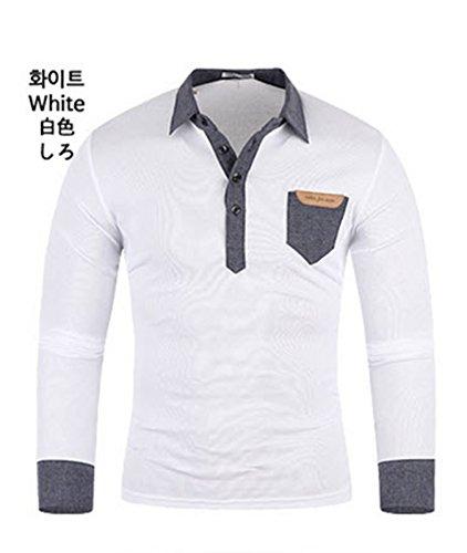 Herren Premium Denim Pocket Langarm Kragen / Poloshirts T-Shirts Polo Shirts Whtie