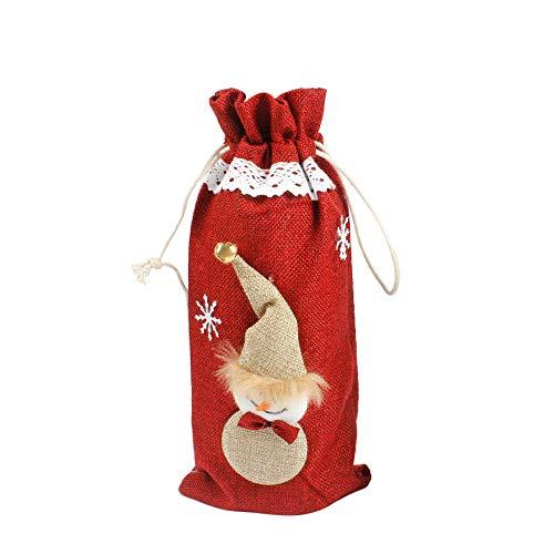 LILICAT Sacs de Couverture de Bouteille de vin Rouge Bonhomme de Neige Père Noël Décoration de Noël Paillettes Noël Décoration intérieure Noël