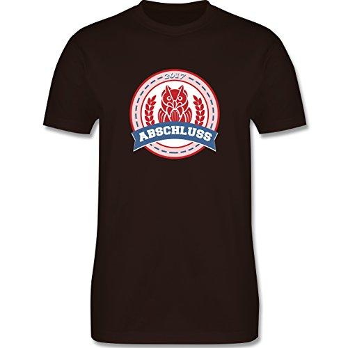 Abi & Abschluss - ABSCHLUSS 2017 Badge mit Eule - Herren Premium T-Shirt Braun