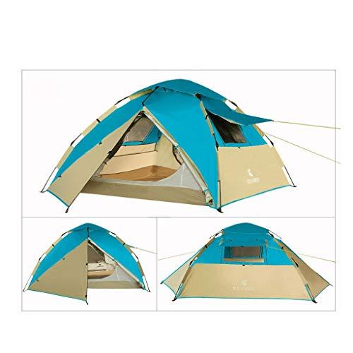 SUI Bergsteigen-Zelt-automatisches ultraleichtes doppeltes Zelt im Freien kampierendes Wind-und Regen-wasserdichtes Lichtschutzwasserdichtes Zelt verwendbar for im Freiensportler (Color : Blue) -