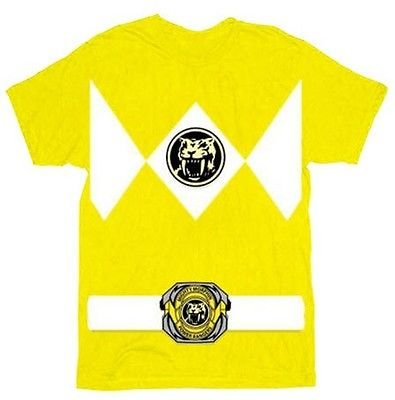 The Power Rangers Gelb Rangers Kostüm Erwachsene T-shirt Tee (X-Large) (Mighty Morphin Power Rangers Kostüm T Shirt)