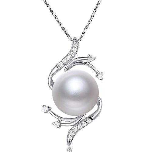er Halskette 925Silber Kette 9mm Perle weiß Blume Anhänger ()
