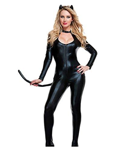 k Catwoman Catsuit Karnevalskostüme Halloween Cosplay Mottoparty Kostüme Katzen-Kostüm mit Schwanz Schwarz ()