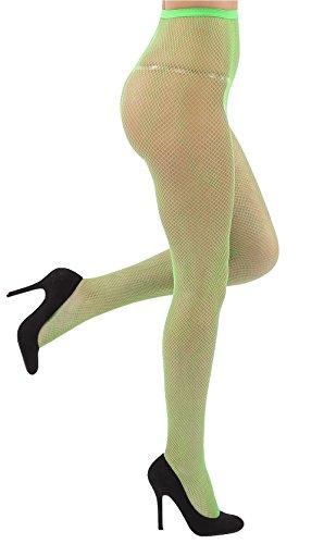 mpfhose Offen Netzstrümpfe Halterlose Netz Straps Strümpfe Elegant Sexy Netzstrumpfhose Hoher Bund Schwarz Rot Weiss Neon Pink Grün Kostüm Fasching Karneval 80er (151-grün) (Netzstrumpfhose Neon-grün)