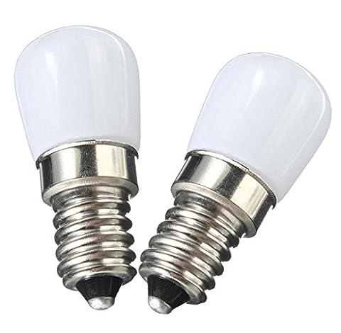 NewCY E14 Ampoule LED 1.5W réfrigérateur Ampoules Bright LED, remplacement pour lampe halogène 15W, 2700K Blanc chaud 220-240V AC, 120lm, 360 ° Angle de faisceau, non dimmable, faible chaleur pour réfrigérateur professionnel / Micro-ondes / Hotte / Machine à coudre 2 Paquets