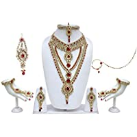 Lucky Jewellery Red Alloy Metal Kundan Bridal Jewellery Set For Women