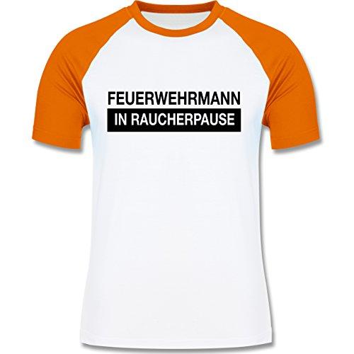 Feuerwehr - Feuerwehrmann in Raucherpause - zweifarbiges Baseballshirt für Männer Weiß/Orange