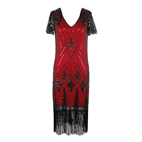 Hongxin 1920Er Kleid Damen Flapper Kleid mit Kurzem Ärmel V-Ausschnitt Vintage Gatsby Kostüm Kleid Pailletten Perlen Troddel Glitzer Partykleid Abendkleid Cocktailkleid S-XL 5 - Teen Flapper Kostüm