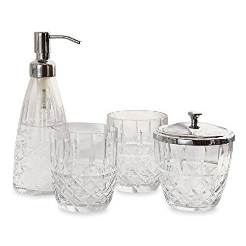 Loberon Bad-Set Simone, Glas/Messing, H/Ø ca. 19,5/14 cm, klar/Silber