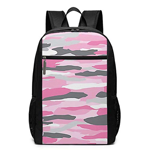 TRFashion Rucksack Pink Camo Laptop Computer Backpack 17 Inch Fashion Casual Travel Daypack Laptop Bag Schoolbag Book Bag for Men Women Black