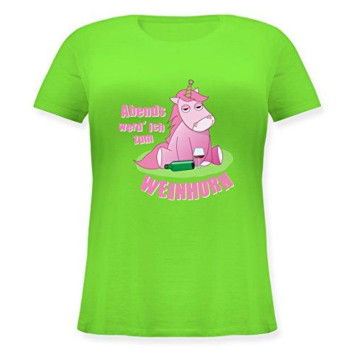 Shirtracer Einhörner - Abends Werd' Ich Zum Weinhorn - Lockeres Damen-Shirt in Großen Größen mit Rundhalsausschnitt Hellgrün