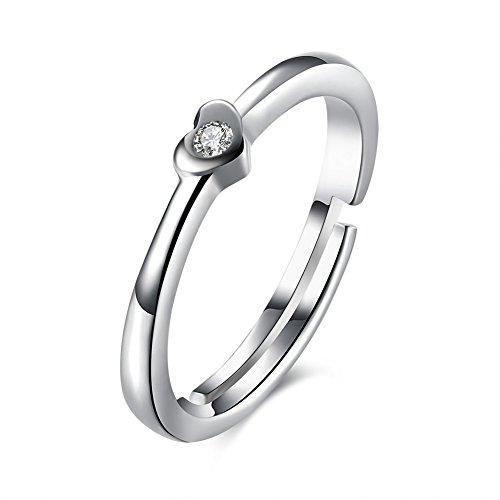 fjyouria Damen 925Sterling Silber verstellbar Zarte Herz dünner Ring offen Verlobungsring Ring mit Zirkonia Forever Love Versprechen Ring (Immer Für Versprechen Ring)