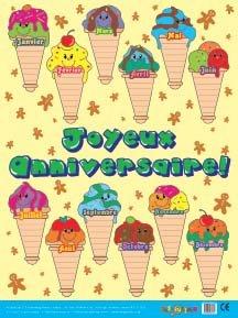 Joyeux Anniversaire (Geburtstag Diagramm), französische Sprache Educational-Bildung Poster. Extra große Größe. Heavyweight (Diagramm Geburtstag Klassenzimmer)
