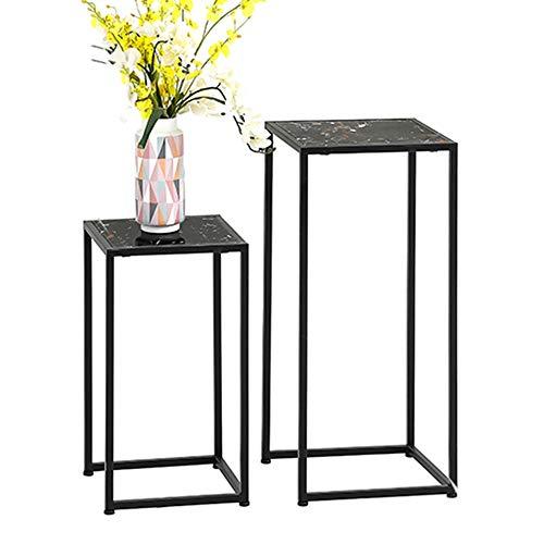 ZHIRONG Nesting-Tisch, Wohnzimmer Quadrat Marmor Beistelltisch Ausstellungsstand Ecktisch Blumenstand Schlafzimmer Nachttisch Lagerregal (Farbe : Schwarz) -