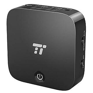 Bluetooth Adapter TaoTronics Transmitter und Empfänger 2-in-1 Bluetooth 5.0, digitales optisches Audiokabel TOSLINK und 3,5 mm Audiostecker, aptX, geringe Verzögerung, Cinchstecker