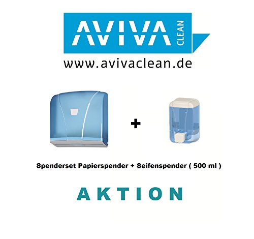 aviva-clean-dispensador-dispensador-de-jabon-500-ml-dispensador-de-papel-azul