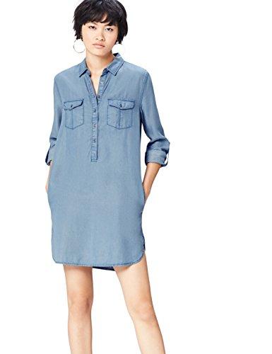 FIND Vestido Vaquero Camisero con Bolsillos para Mujer, Azul (Light Indigo), 36 (Talla del Fabricante: X-Small)
