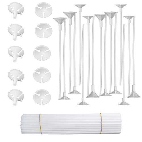 Onepine 50 Stück Plastikstäbe Luftballon-Zubehör Ballon Sticks Halter mit Cups für Hochzeit Urlaub Dekor, 32 cm, weiß (50 PCS)