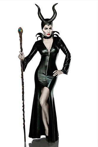 Damen Teufel Kostüm Verkleidung aus Kleid, Halsband, Hörnermaske Teufelin in schwarz XL