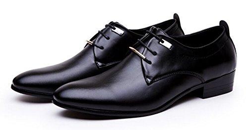 Anlarach Pointe Toe Dress Derby En Cuir Noir Pour Homme Chaussures Noir