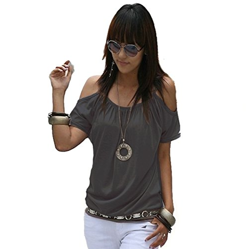 Mississhop Japan Style Damen Top T - Shirt Bluse Longshirt Tunika Tanktop Oberteil NATA Graphit S