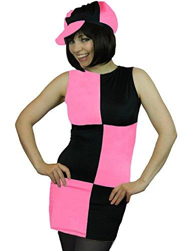 r Disco Mod Karneval Fasching Kostüm + Strumpfhose + Schwarzer Karierter Hut Damen Größe 34 - 44 (42Pink) (Austin Powers-halloween-kostüme)