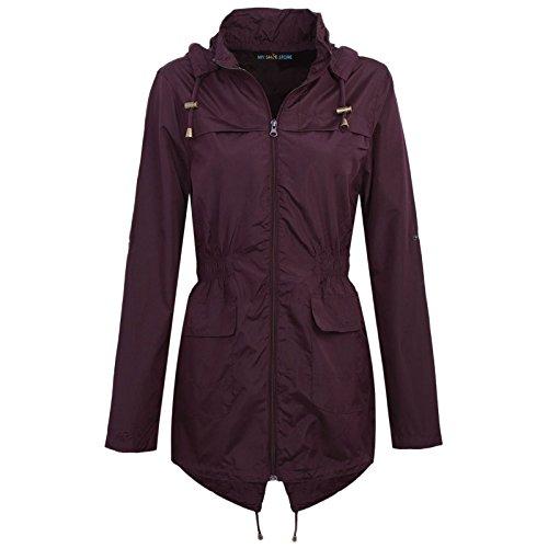 MYSHOESTORE Chubasquero para mujer, impermeable, chaqueta para festival, ligera, con capucha, tallas grandes de 36 - 52 multicolor Wine / Plain Large