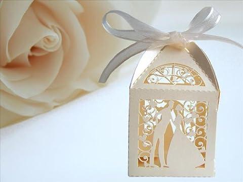 25 Boites à dragées spécial mariage avec ruban décoratif -