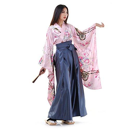 Geisha Kostüm Frauen - Princess of Asia Japan Damen Geisha Samurai Kimono Outfit Kostüm S M 36 38 40 (Rosa & Blaugrau)