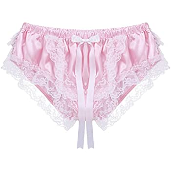 f5ca253b7cf CHICTRY Men's Frilly Satin Sissy Maid Underwear Shiny Silky Xdress Panties  Pink Medium