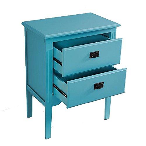 DEO Bureau d'ordinateur Meubles Table de chevet en bois 2 tiroirs Cabinet bleu, noyer, laiteux L63 * W37.5 * H82cm durable (Couleur : Bleu)