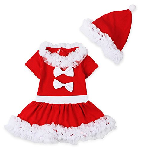 ihnachten Kleid Hut rote Spitze Kostüm Bowknot Outfits Set 9-12 monate rot (Neun Menschen Kostüm)