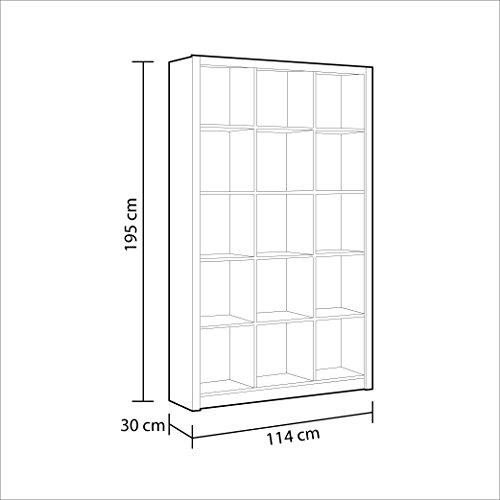Habitdesign Estantería triple con cubo blanco suave y brillante–por furniture factor
