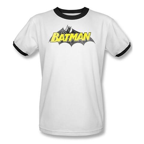 Mens BATMAN Short Sleeve CLASSIC LOGO XXXLarge Ringer T-Shirt Tee