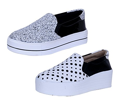 Indistar Girls Fashionable & Stylish Casual Shoe Sneaker White/Black (Combo Pack of 2)-(87300-103107)-8